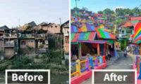 ინდონეზიაში სოფელი გააფერადეს