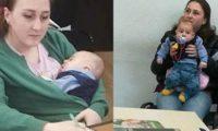 მასწავლებელი სტუდენტი, რომელიც ლექციებზე შვილთან ერთად დადის