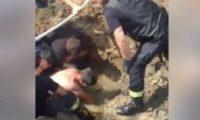 გაგარინზე ორმოში ჩავარდნილი მუშა მაშველებმა ამოიყვანეს – ვიდეო