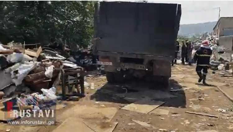რუსთავში ჯართის პუნქტში აფეთქება მოხდა – 1 მამაკაცი დაიღუპა – ვიდეო